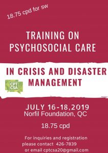 Training On Psychosocial Care in Crisis & Disaster Management